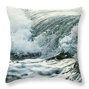 Waves In Stormy Ocean Throw Pillow by Elena Elisseeva