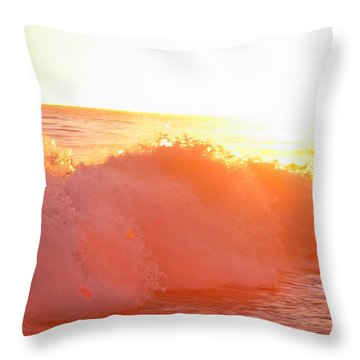 Waves In Sunset Throw Pillow