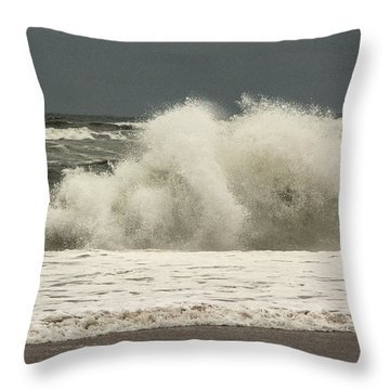Throw Pillow featuring the photograph Waves In The Autumn Ocean by Nancy De Flon