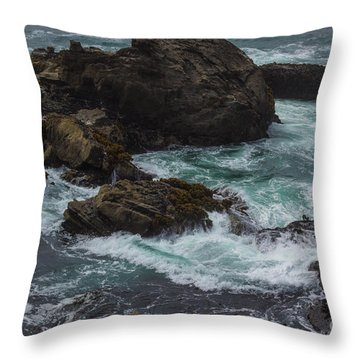Waves Meet Rock Throw Pillow
