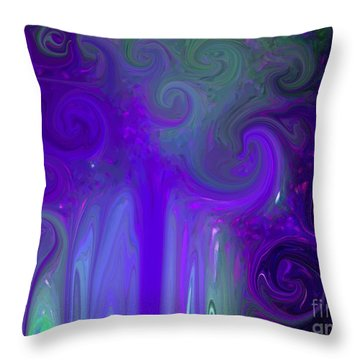 Waves Of Violet - Abstract Throw Pillow