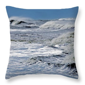 Waves Off Sandfiddler Rd Corolla Nc Throw Pillow