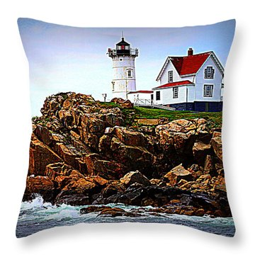 Waves On The Nubble 2 Throw Pillow