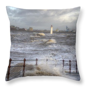 Waves On The Slipway Throw Pillow