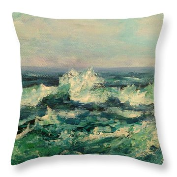 Waves Painting Throw Pillow