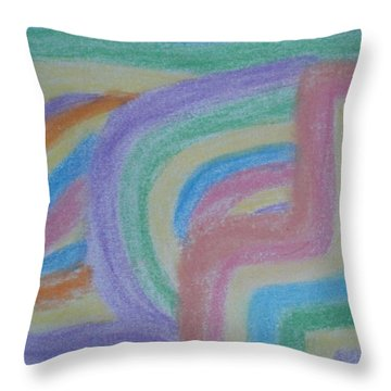 Throw Pillow featuring the drawing Waving Colors by Thomasina Durkay