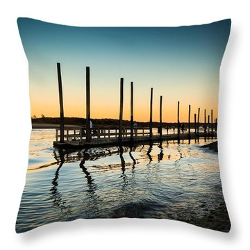 Wavy Sunset Kings Park New York Throw Pillow
