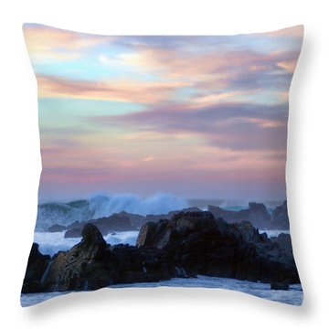 Wavy Sunset Throw Pillow