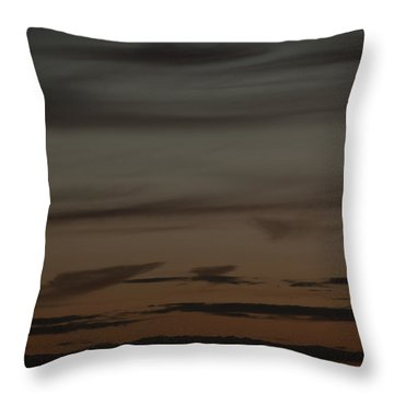 Waxing Crescent Moon Over Purple And Orange Evening Sky Throw Pillow