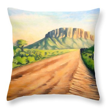 Throw Pillow featuring the painting Way To Maralal by Anthony Mwangi