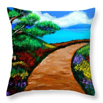 Way To The Sea Throw Pillow