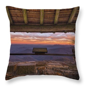 Wayah Bald Sunset Throw Pillow by Serge Skiba