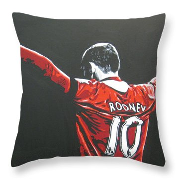 Wayne Rooney - Manchester United Fc 2 Throw Pillow by Geo Thomson