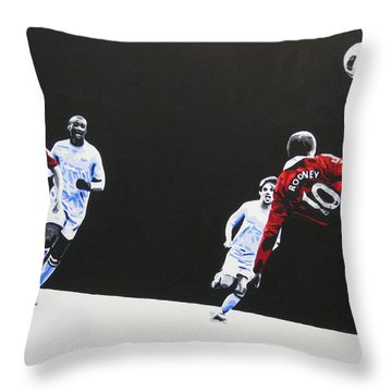 Wayne Rooney - Manchester United Fc Throw Pillow by Geo Thomson
