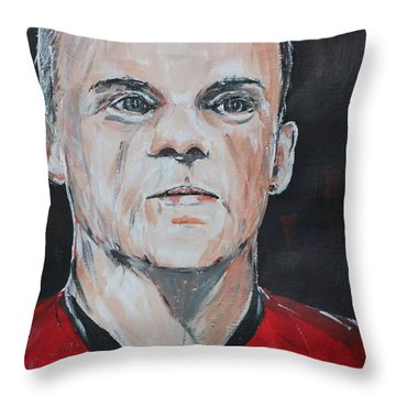 Wayne Rooney Throw Pillow by John Halliday
