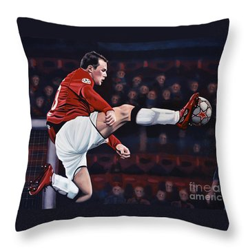 Wayne Rooney Throw Pillow by Paul Meijering