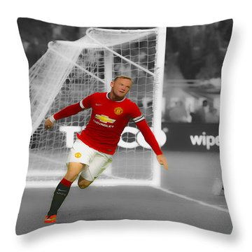Wayne Rooney Scores Again Throw Pillow by Brian Reaves