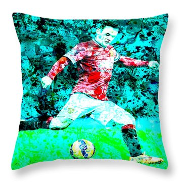 Wayne Rooney Splats Throw Pillow by Brian Reaves
