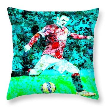 Wayne Rooney Splats Throw Pillow