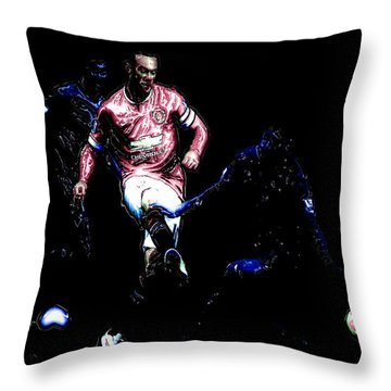 Wayne Rooney Working Magic Throw Pillow by Brian Reaves