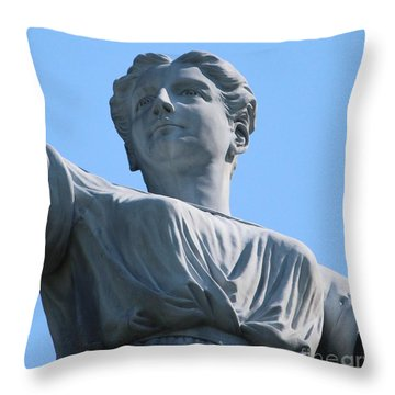 Throw Pillow featuring the photograph Waynesburg University Statue by Cynthia Snyder