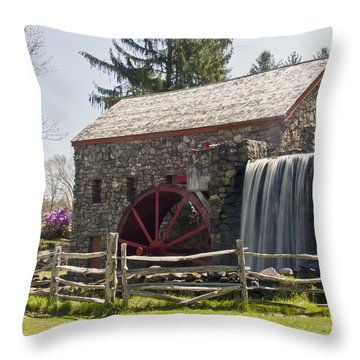 Wayside Grist Mill 5 Throw Pillow by Dennis Coates