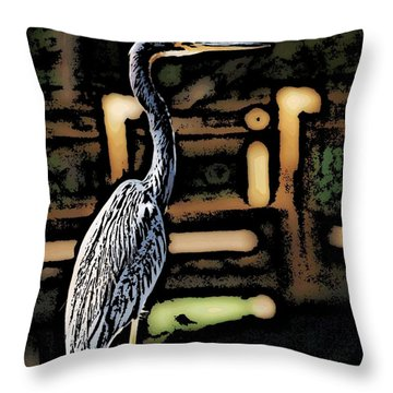Throw Pillow featuring the digital art Wc Great Blue by David Lane