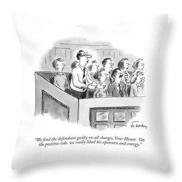 We Find The Defendant Guilty On All Charges Throw Pillow