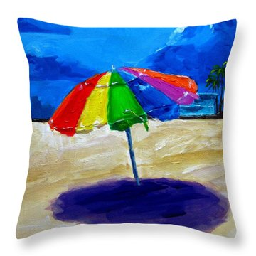 We Left The Umbrella Under The Storm Throw Pillow by Patricia Awapara