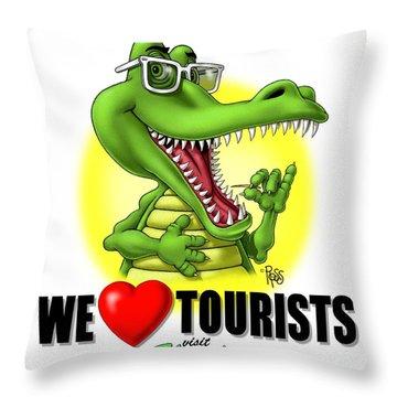 We Love Tourists Gator Throw Pillow