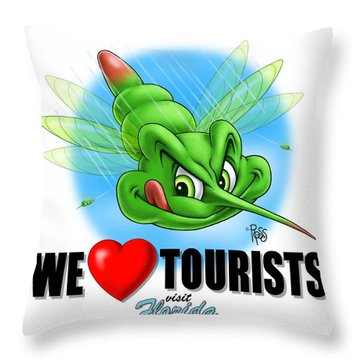 We Love Tourists Mosquito Throw Pillow