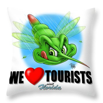 We Love Tourists Mosquito Throw Pillow by Scott Ross