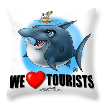We Love Tourists Shark Throw Pillow by Scott Ross