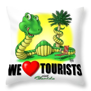 We Love Tourists Snake Throw Pillow
