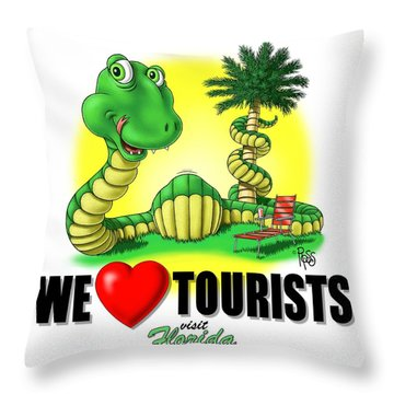 We Love Tourists Snake Throw Pillow by Scott Ross