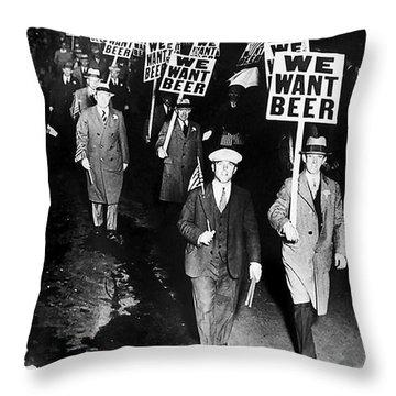 We Want Beer Throw Pillow by Jon Neidert