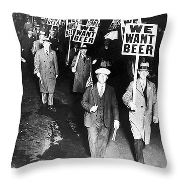 We Want Beer Throw Pillow by Bill Cannon