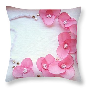 Wearable Art . One Of A Kind Statement Necklace Throw Pillow by Marianna Mills