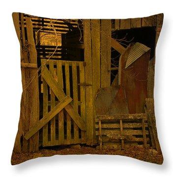 Weathered Barn Detail Throw Pillow by Nina Fosdick