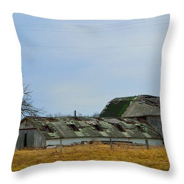 Weathered Barns Throw Pillow by Alys Caviness-Gober