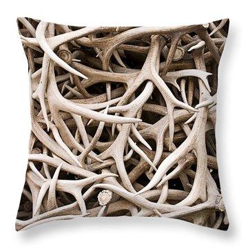 Weathered Elk Antlers Throw Pillow