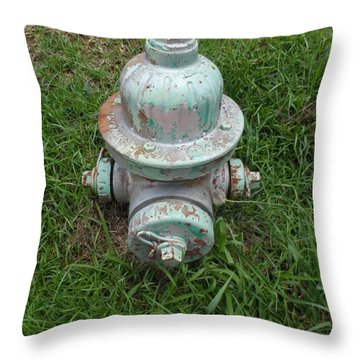 Weathered Fire Hydrant Throw Pillow