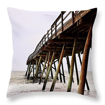 Weathered Oceanic Pier  Throw Pillow