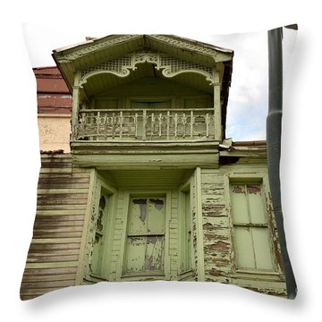 Throw Pillow featuring the photograph Weathered Old Green Wooden House by Imran Ahmed