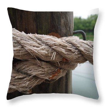 Throw Pillow featuring the photograph Weathered Ropes On The Dock by Deborah Fay