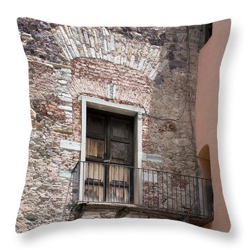 Throw Pillow featuring the photograph Weathered Wooden Church Doors by Lynn Palmer