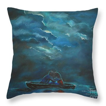 Weathering The Storm Throw Pillow by Leslie Allen