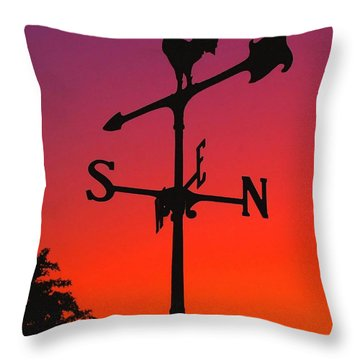 Weathervane At Sunset Throw Pillow by Nick Zelinsky
