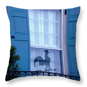 Throw Pillow featuring the photograph Charleston Weathervane Reflection by Kathy Barney