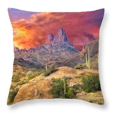 Weavers Needle Throw Pillow by Dominic Piperata